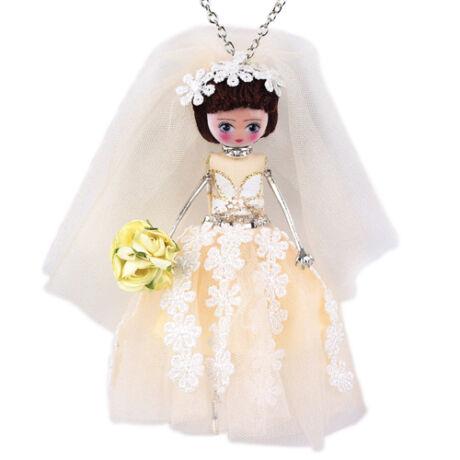 Menyasszony rózsával - nyaklánc - fehér - BABA kollekció