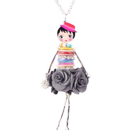 Párizsi nő - nyaklánc - szürke - BABA kollekció