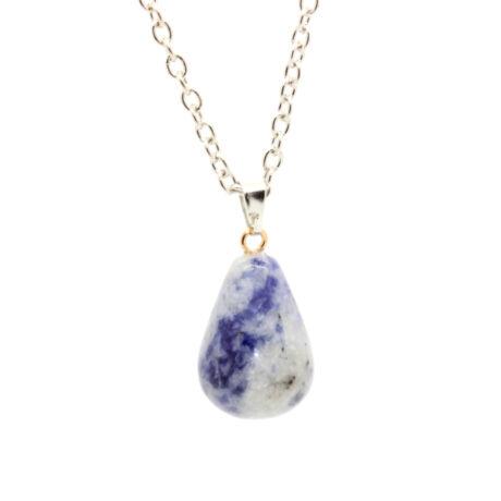 Csepp alakú természetes kőből készült nyaklánc - kék cirmos - krém