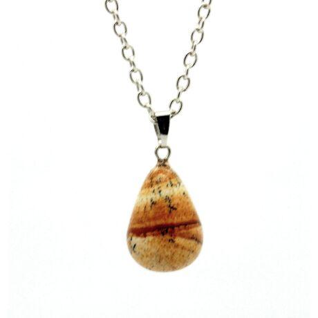 Csepp alakú természetes kőből készült nyaklánc - barna-fekete cirmos