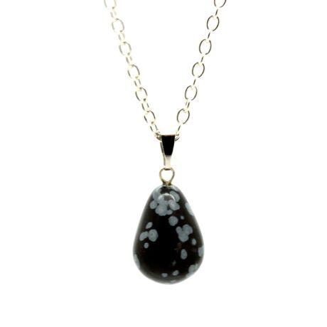 Csepp alakú természetes kőből készült nyaklánc - fekete-fehér foltos