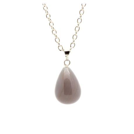 Csepp alakú természetes kőből készült nyaklánc - sötét opál
