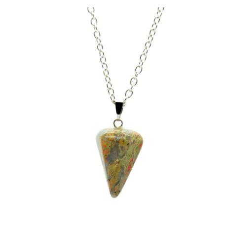 Gúla alakú természetes kőből készült nyaklánc - drapp-márvány