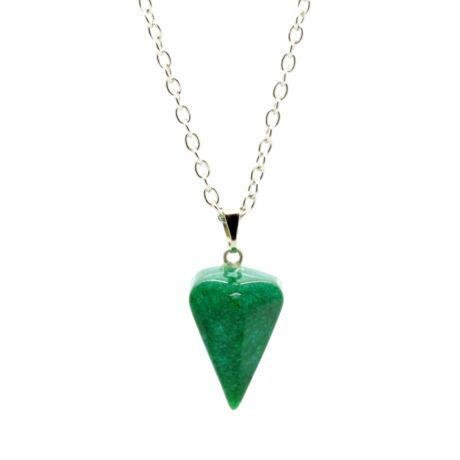 Gúla alakú természetes kőből készült nyaklánc - zöld márványhatású