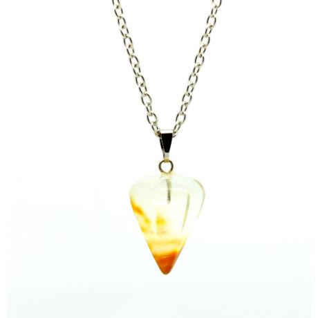 Gúla alakú természetes kőből készült nyaklánc - sárga áttetsző