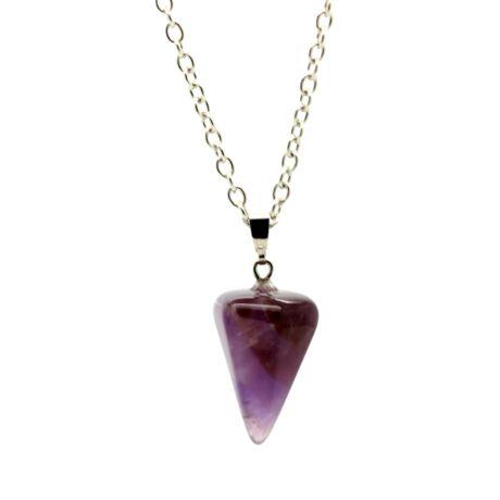 Gúla alakú természetes kőből készült nyaklánc - lila