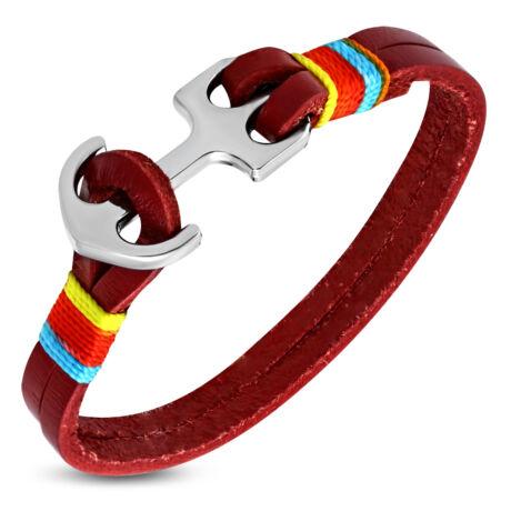 Anchorissime - Anchor horgony karkötő - ezüst-színes- piros bőr