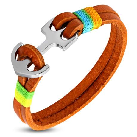 Anchorissime - Anchor horgony karkötő - ezüst-színes- narancssárga bőr