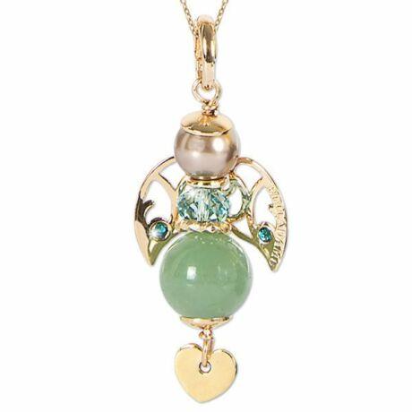 Mya - KERUBINA bronz nyaklánc - aventurin - Swarovski gyöngy - zöld