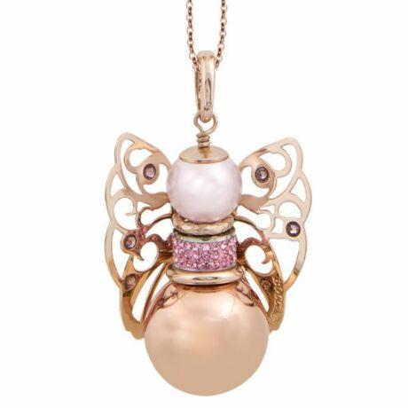 Mya - Kerubina bronz nyaklánc -  Swarovski kristállyal - rózsaszín