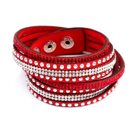 PUNKY  valódi bőr divat karkötő és nyaklánc egyben - piros