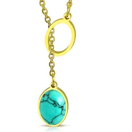Apró ovál - türkizköves acél nyaklánc - arany - kék