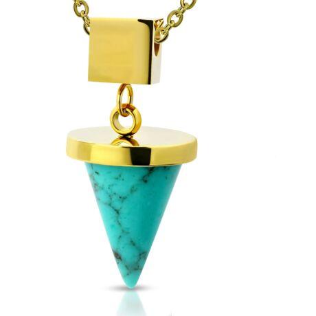 Apró szerencsehozó - türkizköves acél nyaklánc - arany - kék