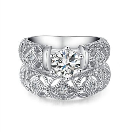 Isabella - cirkóniaköves DUPLA divatgyűrű - fehér
