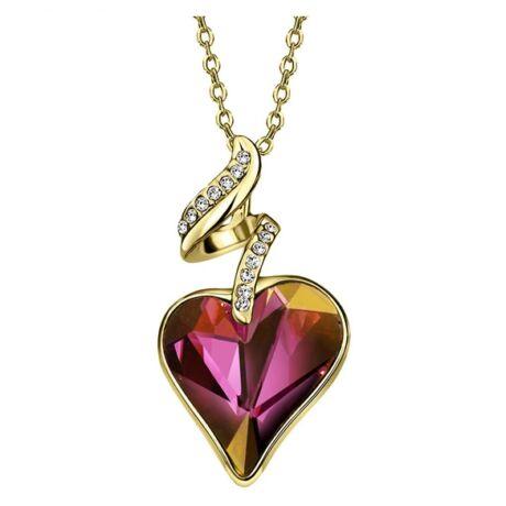 Linda - Swarovski kristályos nyaklánc - arany-bordó