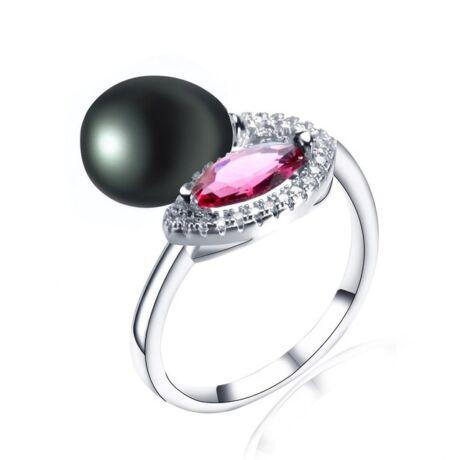 Josefine - valódi gyöngyből készült gyűrű - fekete