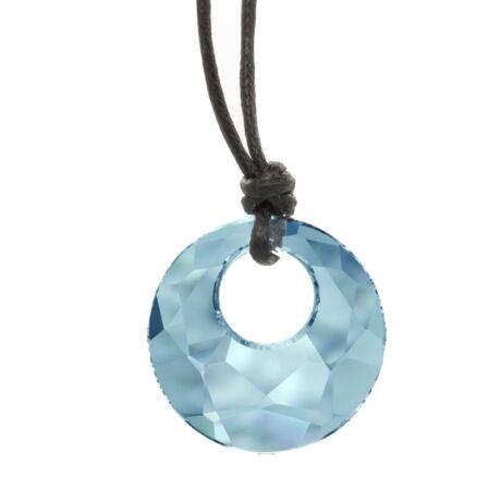 """""""Victory pendant"""" -Swarovski medál bőrkötélen- Aquamarine - kék"""