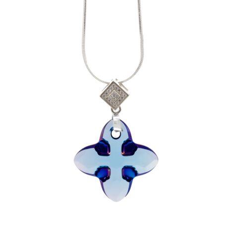 """""""Cross Tribe Pendant"""" -Swarovski medál nyaklánccal - Aquamarine- ezüst színű lánccal - kék"""