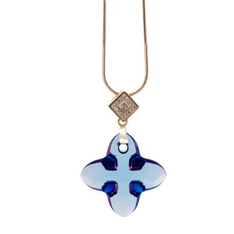"""""""Cross Tribe Pendant"""" -Swarovski medál nyaklánccal - Aquamarine- arany színű lánccal - kék"""