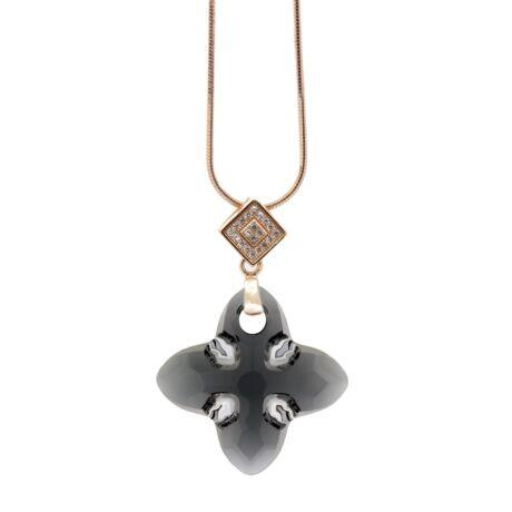 """Cross Tribe Pendant"" -Swarovski medál nyaklánccal - Graphite - arany színű lánccal - fekete"