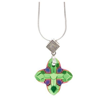 """""""Cross Tribe Pendant"""" -Swarovski medál nyaklánccal - Scarabaeus Green- ezüst színű lánccal - zöld"""