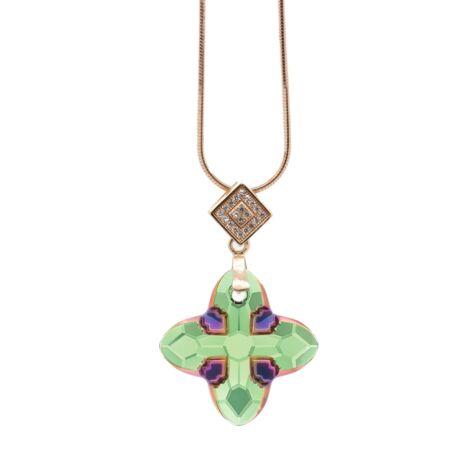 """""""Cross Tribe Pendant"""" -Swarovski medál nyaklánccal - Scarabaeus Green- arany színű lánccal - zöld"""