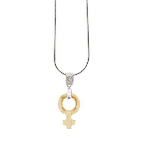 """""""Female Symbol Pendant"""" -Swarovski medál nyaklánccal - Golden Shadow - ezüst színű lánccal - borostyán"""