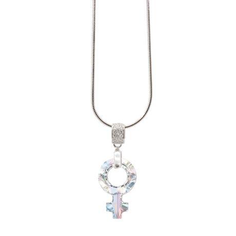 """""""Female Symbol Pendant"""" -Swarovski medál nyaklánccal - Aurore Boreale - ezüst színű lánccal - fehér"""
