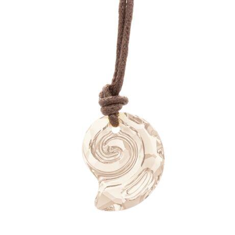 """""""Sea Snail pendant"""" -Swarovski medál bőrkötélen- Golden Shadow - borostyán"""