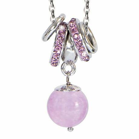Mya - Viky bronz nyaklánc - Swarovski kristállyal - rózsaszín