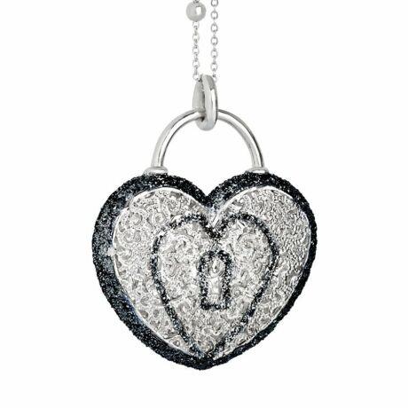 Boccadamo Jewels - bronz nyaklánc - Alissa - fekete -ezüst - szív