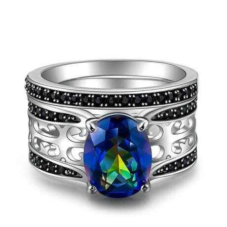 Ratyn - cirkóniaköves DUPLA divatgyűrű - kék