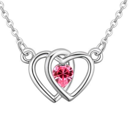 Double heart- rózsaszín- Swarovski kristályos nyaklánc