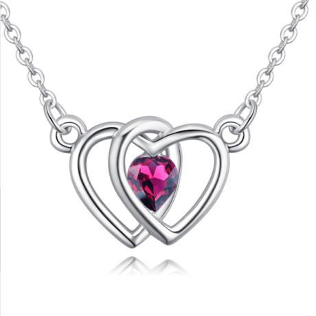 Double heart- lila- Swarovski kristályos nyaklánc