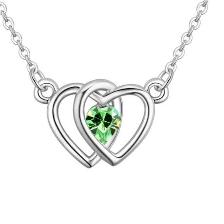 Double heart- zöld - Swarovski kristályos nyaklánc - Valentin napra ajánljuk