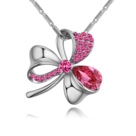 Lótuszvirág- rózsaszín- Swarovski kristályos nyaklánc