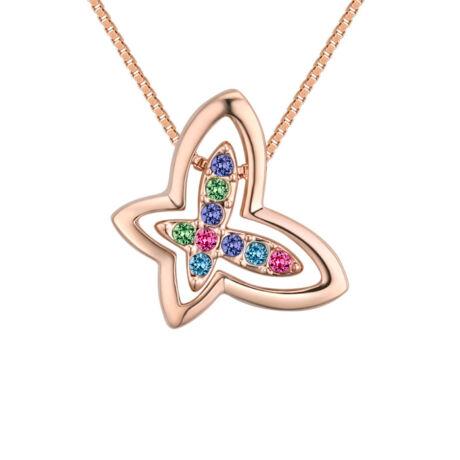 Pillangó a pillangóban- színes-arany- Swarovski kristályos nyaklánc
