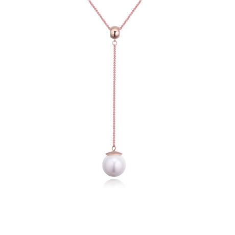 Giant pearl -  fehér kristályos nyaklánc - arany
