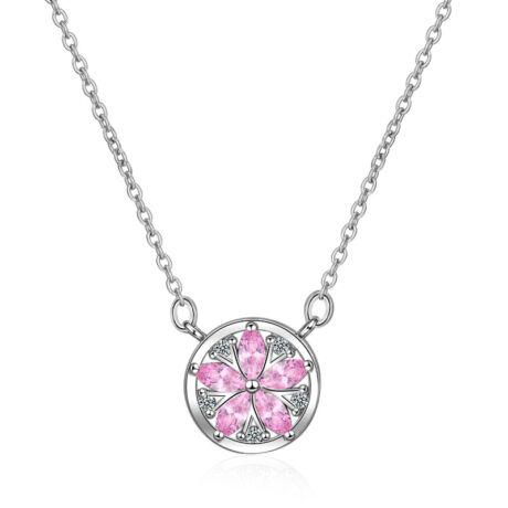 Rózsa-virág  - cirkóniaköves nyakék - rózsaszín