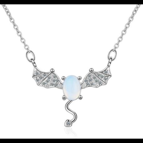 Álomsárkány  - opál- és cirkóniaköves ezüst színű nyakék