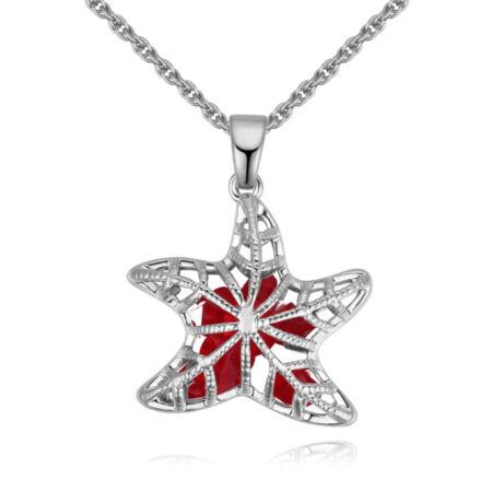 Starfish - piros- Swarovski kristályos nyaklánc