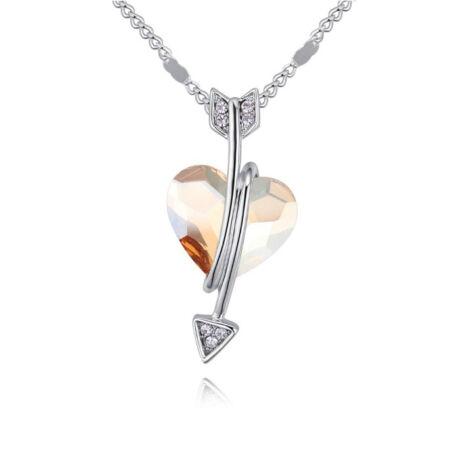 Ámor nyila- borostyán- Swarovski kristályos nyaklánc