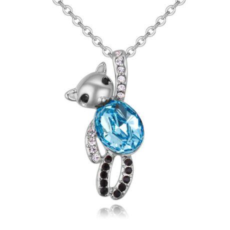 Dancing bear- kék- Swarovski kristályos nyaklánc