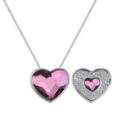 Violeta - halvány rózsaszín- Swarovski kristályos nyaklánc