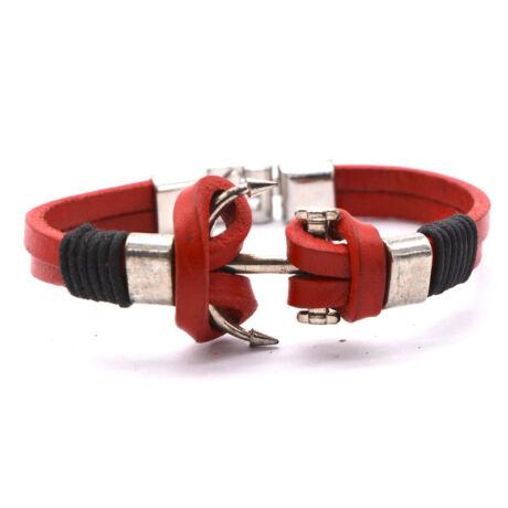 Anchorissime - Anchor horgony karkötő - valódi bőr, horgony motívumú - piros