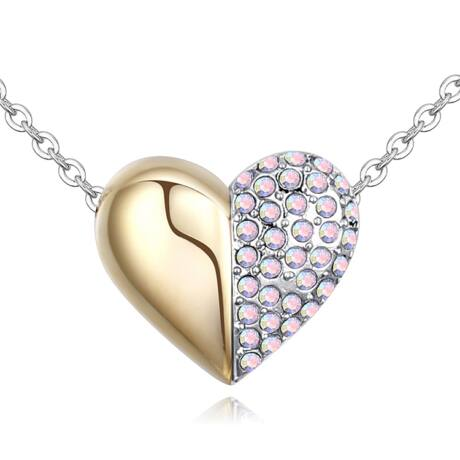Arany kis szívem - Swarovski kristályos nyaklánc - színjátszó fehér