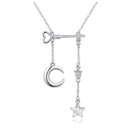 Holdam, Csillagom, Éjjelem - Swarovski kristályos nyaklánc - fehér