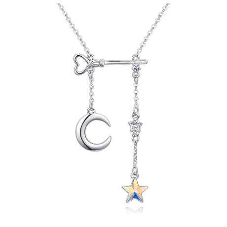 Holdam, Csillagom, Éjjelem - Swarovski kristályos nyaklánc - színjátszó fehér