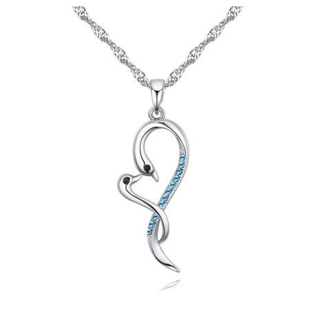 Szerelmes hattyúk - Swarovski kristályos nyaklánc - kék