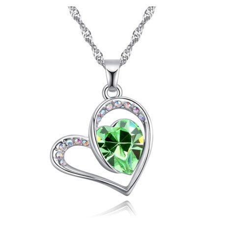 Big heart- zöld - Swarovski kristályos nyaklánc